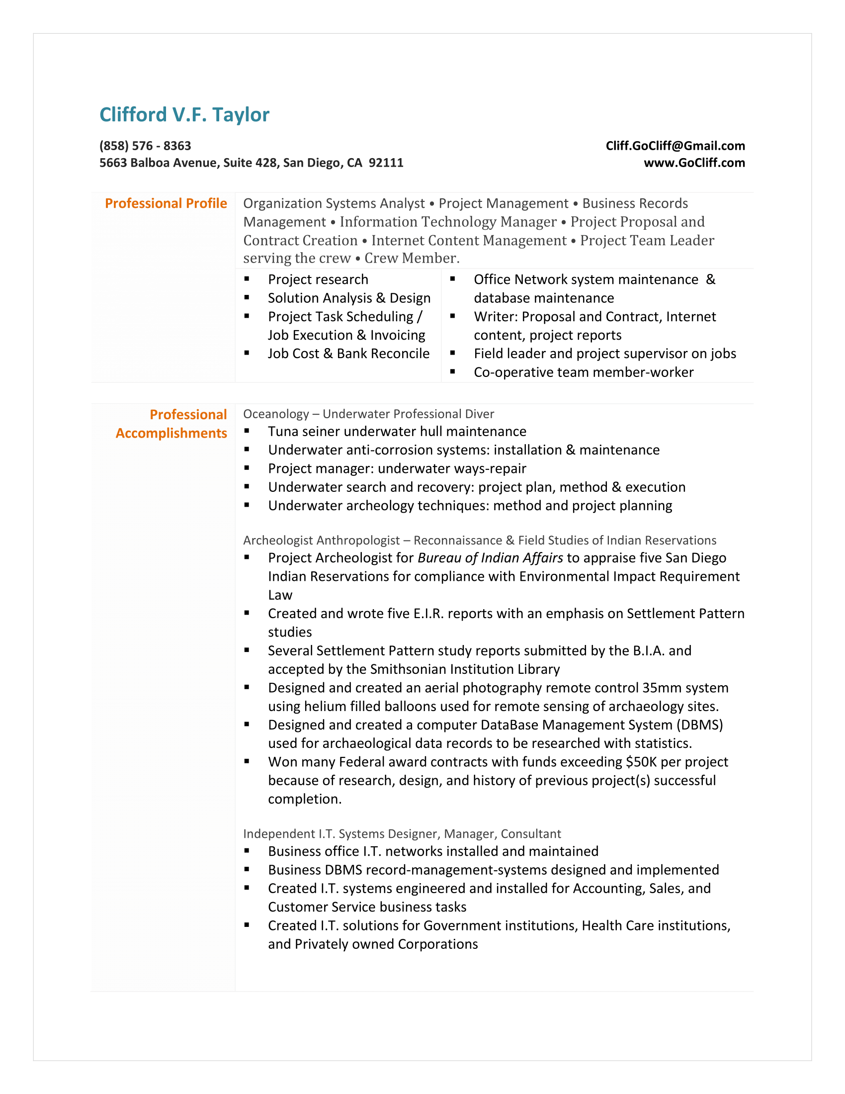 2015 Clifford Resume All History 1  Music Business Resume