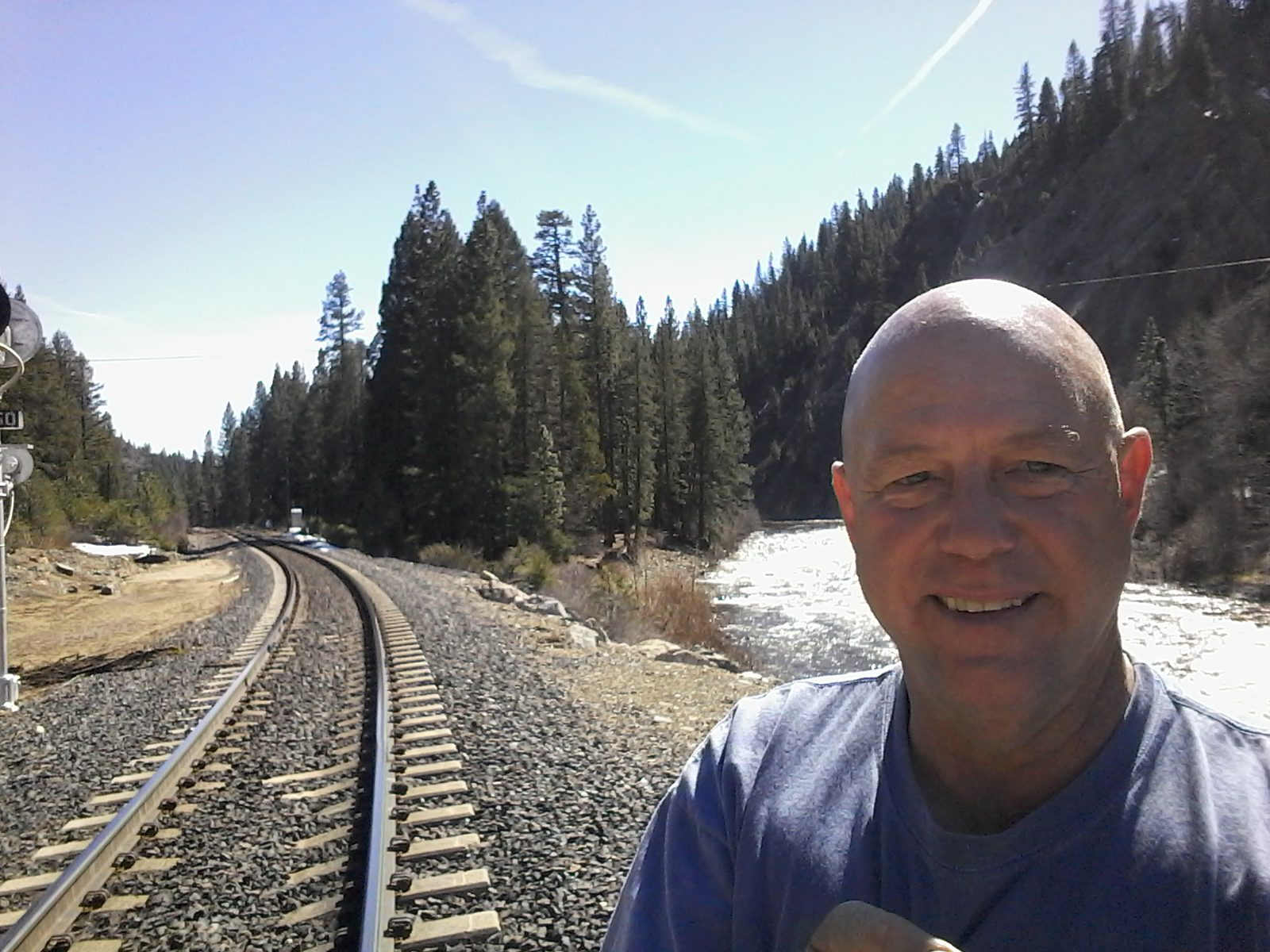 Clifford at Union Pacific rail track along Feather River, Portola CA.